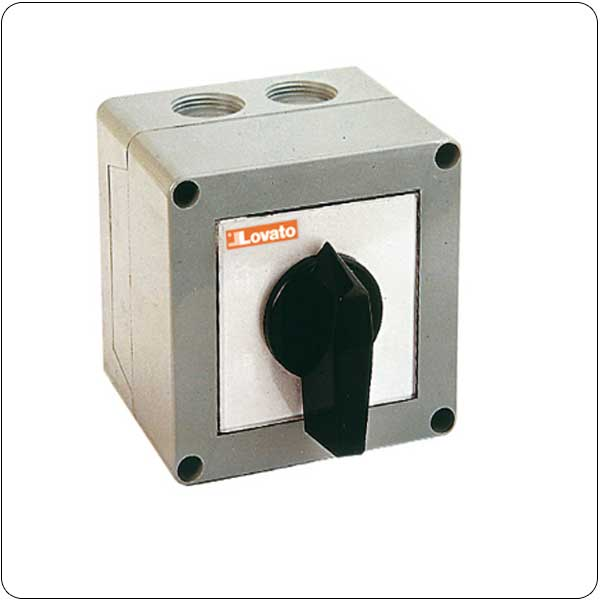 P version in enclosure with rotating handle. Motor switches