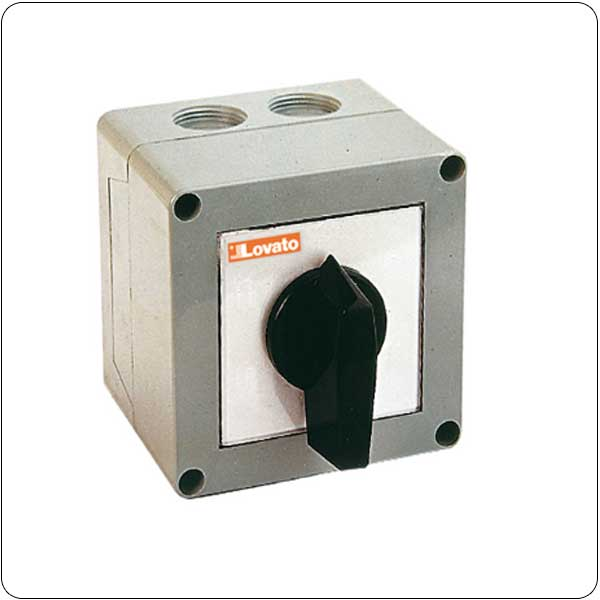 P version in enclosure with rotating handle. Changeover switches
