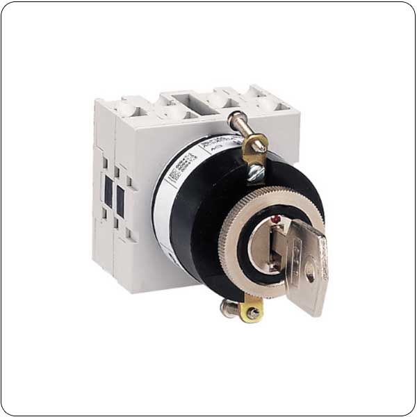 U12 version front mount with key operation, for central 22mm fixing. ON/OFF switches